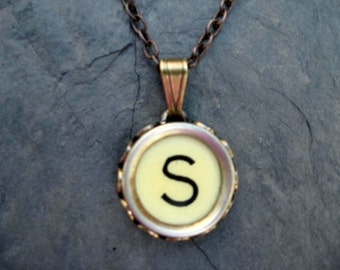 Initial Necklace - Typewriter Key Necklace - Initial S