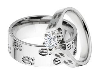 Deer Track Matching Ring Set, His & Her's Ring Set: 8F-DeerTracks, 4FCath-1RCT-DT