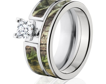 cobalt camo bridal ring set with realtree green camo ring camo wedding ring 6f14g1pctw and 4hr_green - Camouflage Wedding Ring Sets
