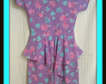 Vintage 1980s 80s Charlee Allison for Eljay Secretary Dress - Size 5/6 - Lavender and Floral Print - Shoulder Pads - Sheer - EUC