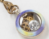 Antique Pocket Watch Case Necklace in Sterling Silver & Rose Gold with Enamel Pansy, Crystal, Heart Charm and Gears Victorian Locket Pendant