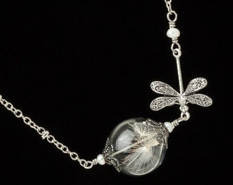 Dandelion Necklace, Wish Necklace, Terrarium Necklace, Dandelion Seed Necklace with Glass Orb, Silver Dragonfly & Pearl Wedding Jewerly Gift