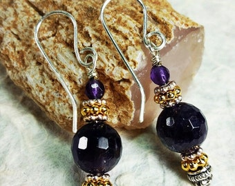 Top Grade Amethyst Earrings with Gold and Silver Accents