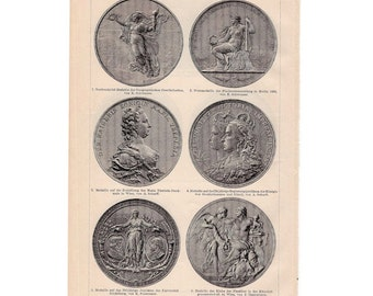 1894 MEDALLION COINS print original antique lithograph - international medallion