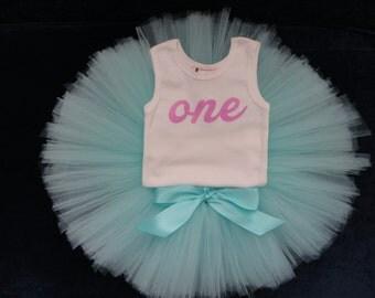 1st Birthday Dress, Baby Girls First Birthday Tutu Outfit, One Bodysuit