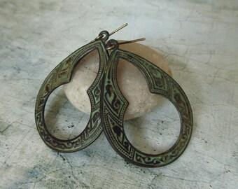 Samara Earrings - Moroccan Tribal Style Brass Patina Earrings