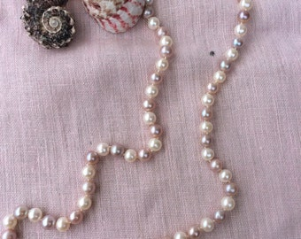 Pink and white freshwater pearl necklace