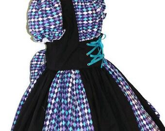 Harlequin Circus Costume Clown Mardi Gras Halloween Womens  Black Teal Purple Diamond Checkered Handmade Custom Size including Plus Sizes