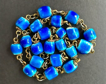 Vintage Blue Ceramic Stone Necklace Blue Ceramic Bead Necklace