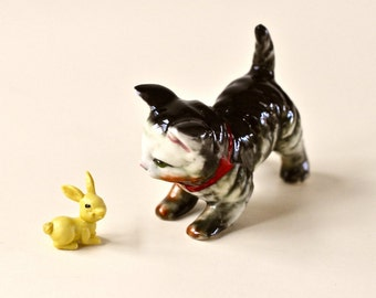 Vintage Cat Figurine Kitten Figurine Hand Painted Cat Porcelain Cat