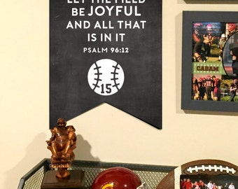 Personalized Sports Sign - Baseball Sign - Man Cave - Sports Bible Verse - Chalkboard Sign - Boys Bedroom - Game Room - Sports Themed Decor