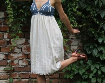 denim color dress, Beach cream dress, crochet cotton dress, sexy beach tunic, Cottage chic dress, Bohemian chic dress, Designer dress