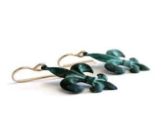 Fleur de Lis Earrings / Patina Earrings / Fleur de Lis Jewelry / French Country / Lily Jewelry / Verdigris Patina / New Orleans