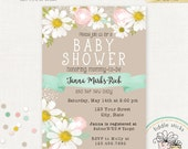 Daisies Invitation, 5 x 7 Invitation, Baby Shower, Bridal Shower, Birthday, Printable JPEG File
