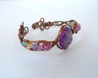 Purple Sea Sediment Jasper Wire Wrapped Copper Cuff Bracelet Handmade Jewelry USA