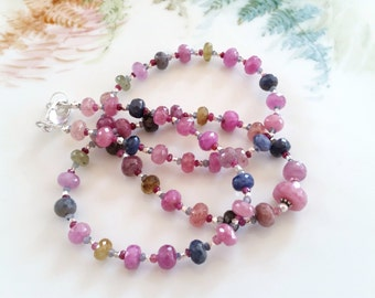 Multi Color Sapphire Gemstone Necklace Bracelet Wrap One of a Kind