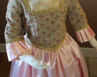 Pink Marie Antionette Childs Fairy Tale Dress Tudor Renaissance Medieval Costume Gown Size 7-8 Girls