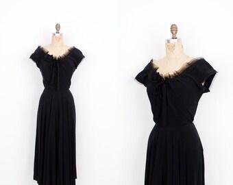 Vintage 1950s Dress / 50s Black Rayon Cocktail Dress / Party Dress (medium M)