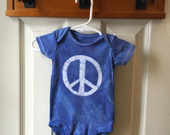 Peace Sign Baby Bodysuit, Blue Peace Sign Bodysuit, Peace Sign Baby Gift, Blue Baby Shower Gift, Gender Neutral Baby Gift (6 months)