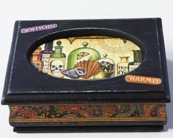 Wood Jewelry Box - Cabinet of Curiosities - Creepy Cute Trinket Box - Upcycled Jewelry Box