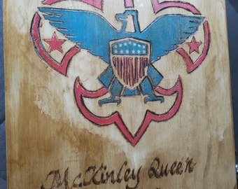 Eagle scout award box featuring wooden burned artwork and more