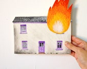 A hand painted house on fire for your wall III