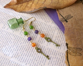 Green, Purple and Orange  Key Dangle Earrings  Alice in Wonderland
