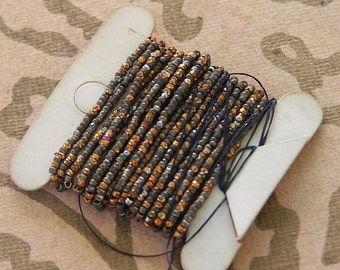 Antique French steel  cut bead strand  metal seed beads  strand Sienna Blaze golden colors Golden Twilight  reclaimed Marsi10