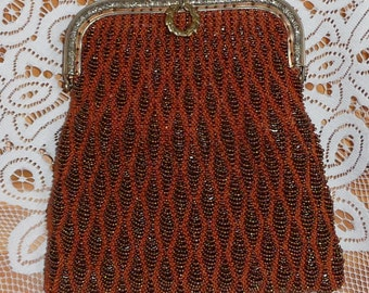 Metallic Brown Beaded Knit Purse on Antique Purse Frame