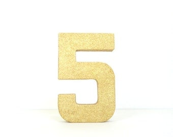 5th Birthday Gold Glittered Stand Alone 8 Inch Paper Mache Number One
