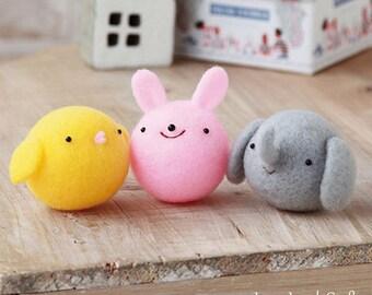 Easy Animal Felt Kit - Japanese Needle Acrylic Fiber Felt  DIY Kit - Maco Maako, Hamanaka Aclaine Kit, Bunny, Chick, Elephant Doll, F156