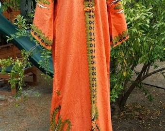 Vintage 70s Dashiki Dress, Bell Sleeve Maxi Dress, 70s Hippie Costume, Orange Batik Maxi Dress, Maxi Dress w/ Sleeves, Ethnic Maxi Dress M