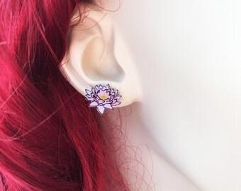 Lotus Flower Earrings, White Lotus Flower Jewelry, White Flower Earrings, Handmade Flowers, Light Pink Flowers, Pink Flower Earrings