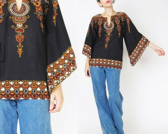 60s 70s Dashiki Tunic Blouse Angel Sleeves Boho Ethnic Print Cotton Blouse Pullover Tunic Top Brown Hippie Festival Peasant Blouse (S)