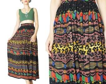 Vintage 90s Boho Maxi Skirt Summer African Gauze Rayon Skirt Abstract Stripes Leopard Print Maxi Skirt Festival Boho Elastic Waist L/XL E483