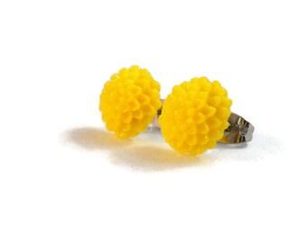 Yellow Flower Earrings Bright Yellow Surgical Steel Earrings for Sensitive Ears Cute Earrings Small Post Earrings for Girls Tween Earrings
