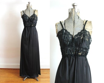 Black Nightgown / 1970s Black Peekaboo Lace Lingerie Nightgown