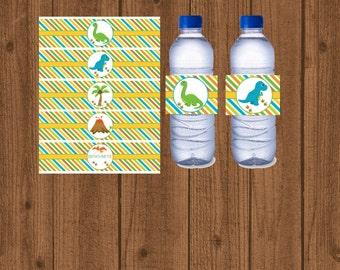Dinosaur Water Bottle Labels, Dinosaur 1st Birthday Party, Dinosaur Baby Shower, Instant Download