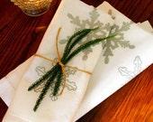SALE. Snowflake Linen Napkin. Holiday. Christmas. Party. Entertaining. Silver. Original Illustration Screen Print. Hostess Gift.