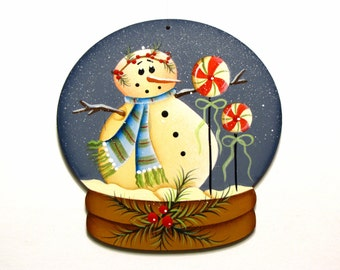 Snowman Snow Globe Ornament, Christmas, Handpainted Wood