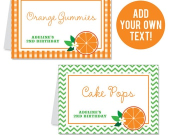 INSTANT DOWNLOAD Orange Party Buffet Cards - EDITABLE Printable File