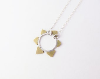 Golden Sun Necklace // Silver Chain, brass, elegant chic, simple casual