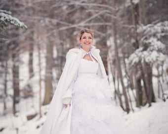 Classic Winter Bridal cape 67-inch White / White Satin with Fur Trim Wedding Cloak Handmade in USA