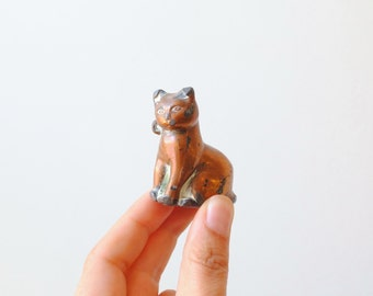 Vintage Copper Plated Cat Figurine