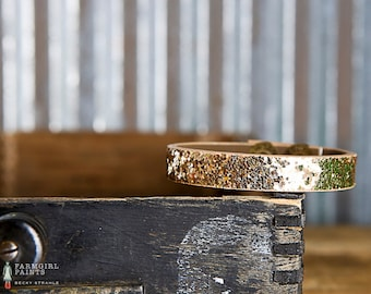 CUSTOM HANDSTAMPED CUFF - bracelet - personalized by Farmgirl Paints - narrow gold glitter cuff