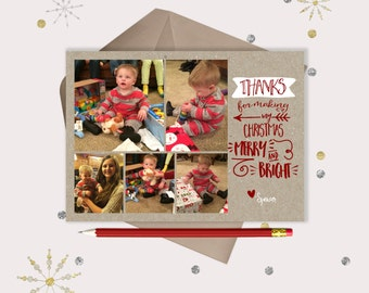 Christmas Thank You Card or MAGNET Photo Collage · Kids Christmas Thank You Cards