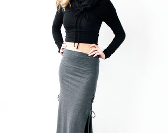 Long grey skirt | Etsy