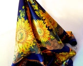 Yellow Sunflowers Scarf with Cobalt Blue Background, Extremely Large Glossy Fabric, Central Medallion