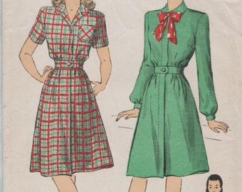 DuBarry 6134 / Vintage 1940s Sewing Pattern / Shirtwaist Dress / Size 16 Bust 34