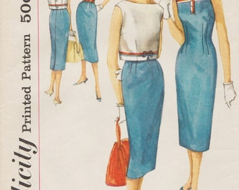 Simplicity 2571 / Vintage 1950s Sewing Pattern / Sheath Dress And Cropped Jacket Overblouse / Size 12 Bust 32